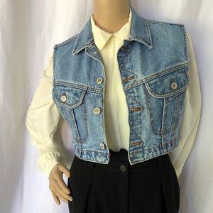 VINTAGE | cropped jeans vest 100% cotton denim